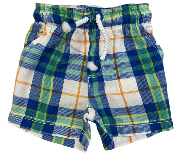 Green Plaid Drawstring Shorts