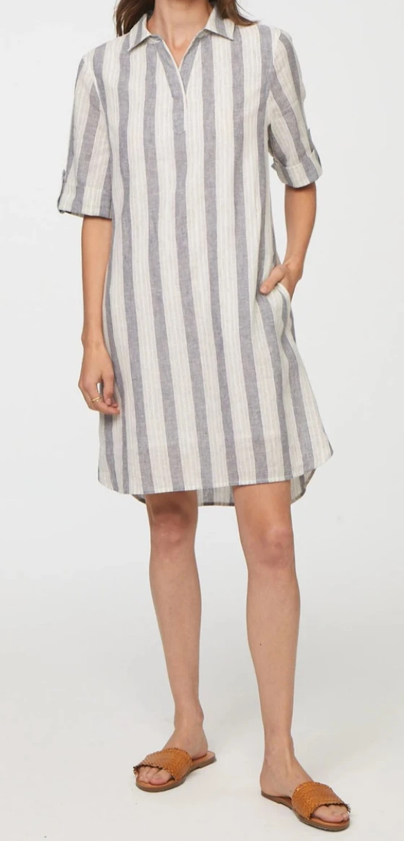 Gray and White Striped Linen Dress