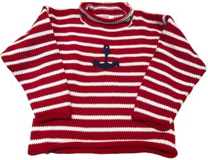 Red Striped Anchor Roll Neck Sweater