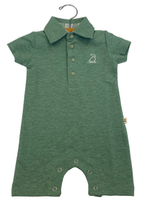 Soft green polo romper with white dog embroidered on front