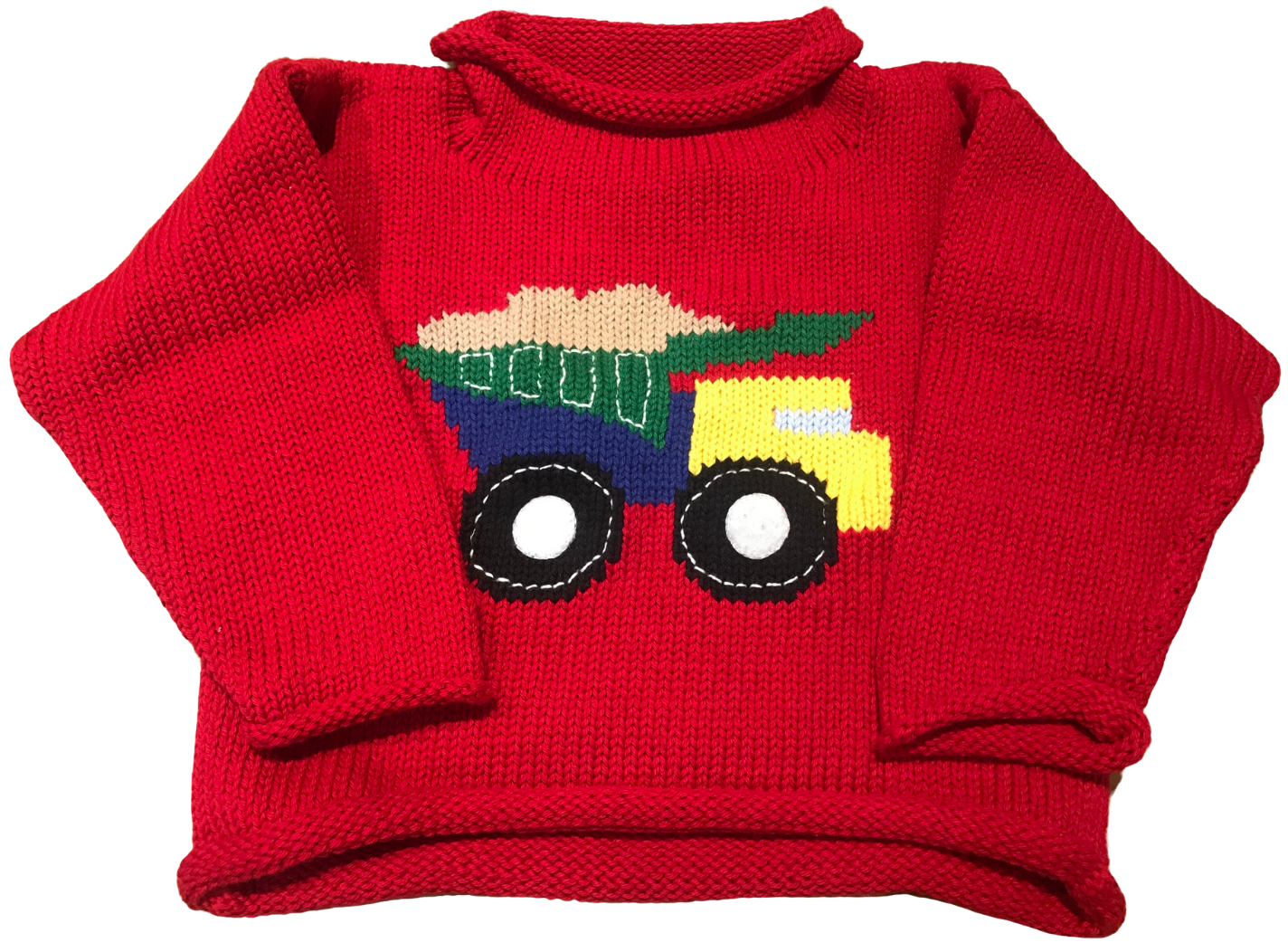 Red Dump Truck Roll Neck Sweater