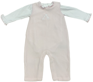 White and Pink Velour Giraffe Coverall