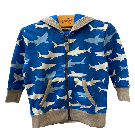 Blue Shark Zip Up Hoodie