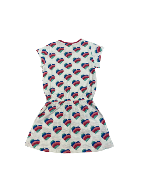 White Rainbow Heart Drop Waist Dress