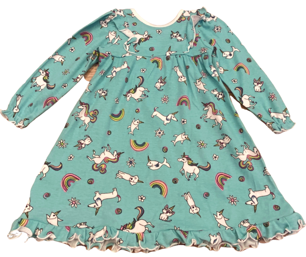 Blue Unicorn and Dog Nightgown