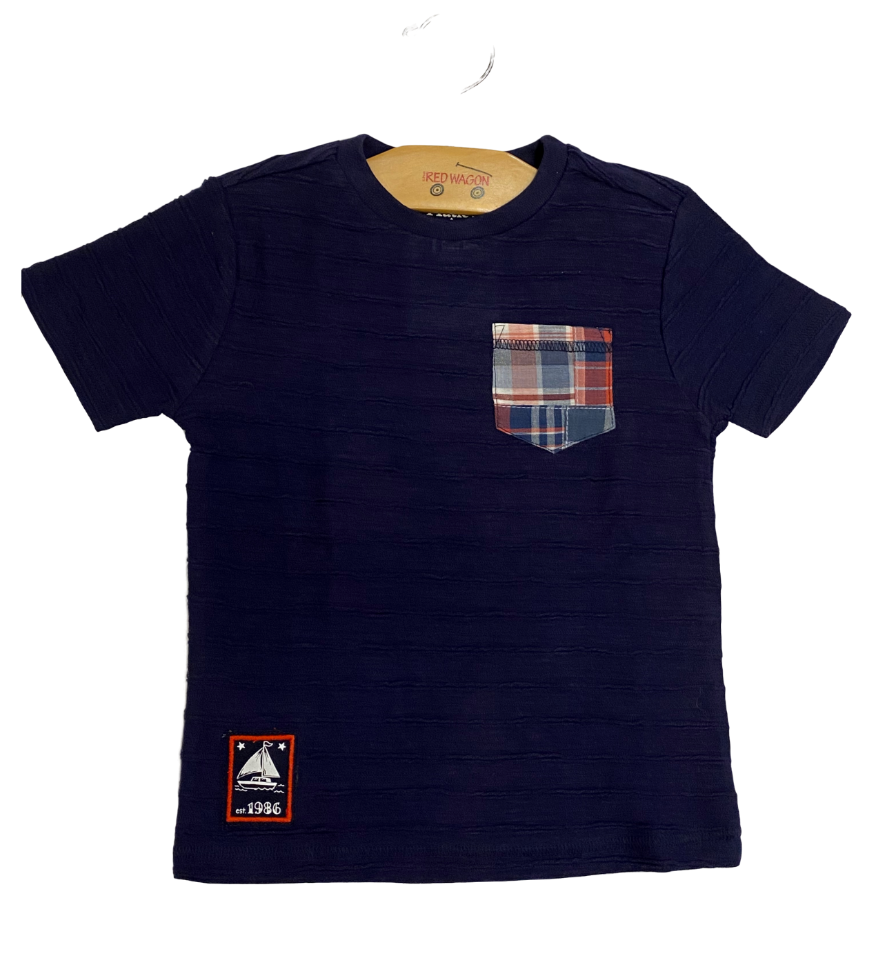 Navy Checkered Pocket Tee