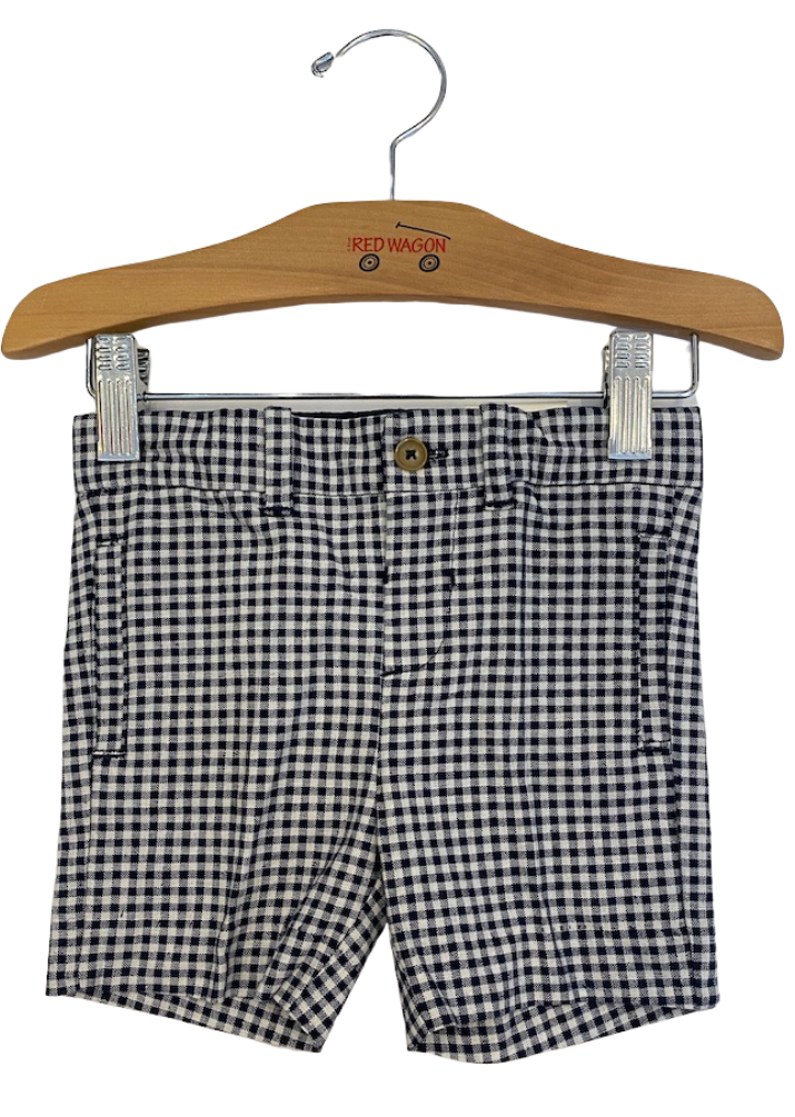Navy and white gingham shorts with pocket details and button closure