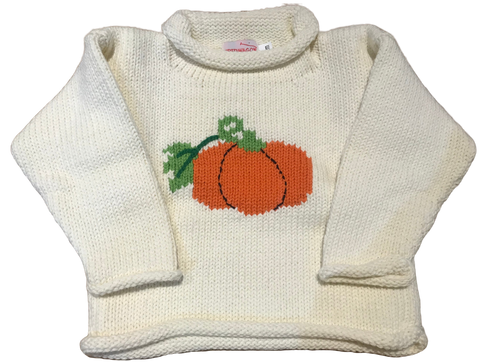 Ivory Pumpkin Roll Neck Sweater