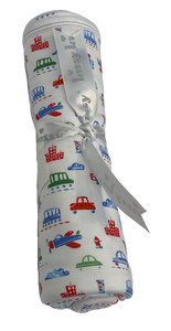 White swaddle with transportation vehicle print.