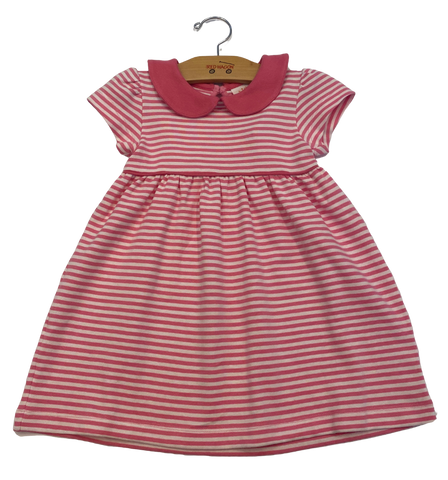 Pink and White Striped Collared Dress
