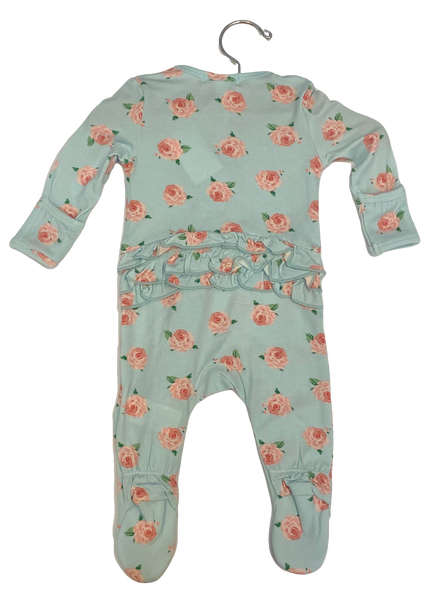 Turquoise Floral Footie