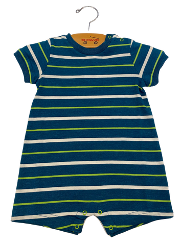 Green Blue Stripe Romper