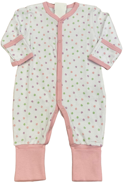 White and Pink Dot Coverall