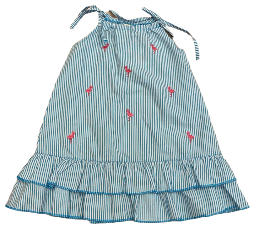 Blue Stripe Flamingo Tie Dress