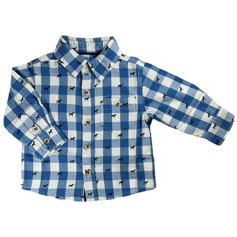 Blue Gingham Dog Button Down