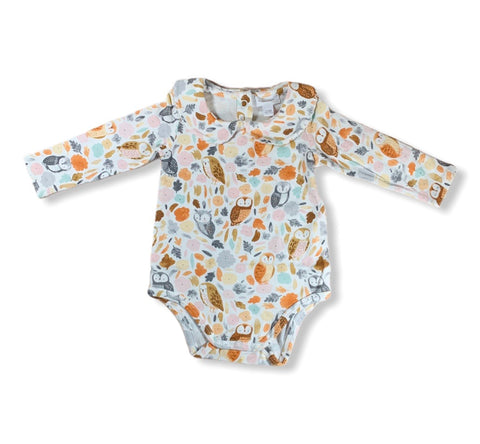 Owl Peter Pan Collar Onesie