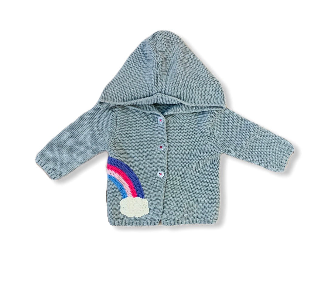 Shimmering gray knit sweater hoodie with an embroidered rainbow.