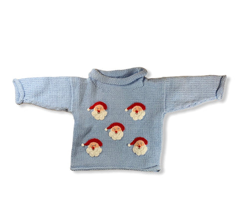 Blue Santa Face Sweater