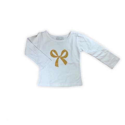 Gold Glitter Bow Shirt