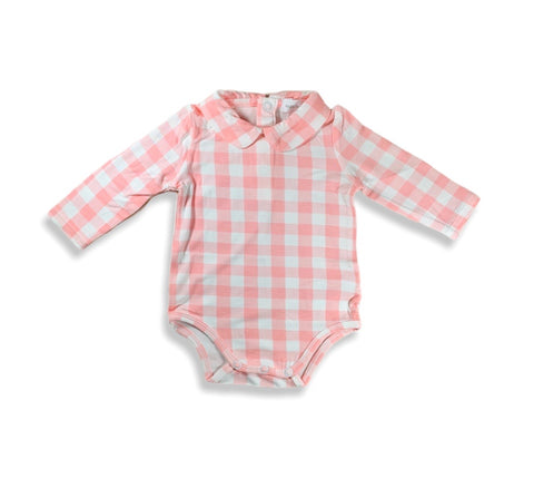 Pink Gingham Peter Pan Collar Onesie