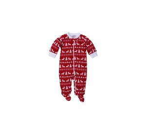 Red Reindeer Fair Isle Footie
