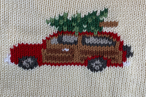 Ivory Woody Wagon Christmas Roll Neck Sweater