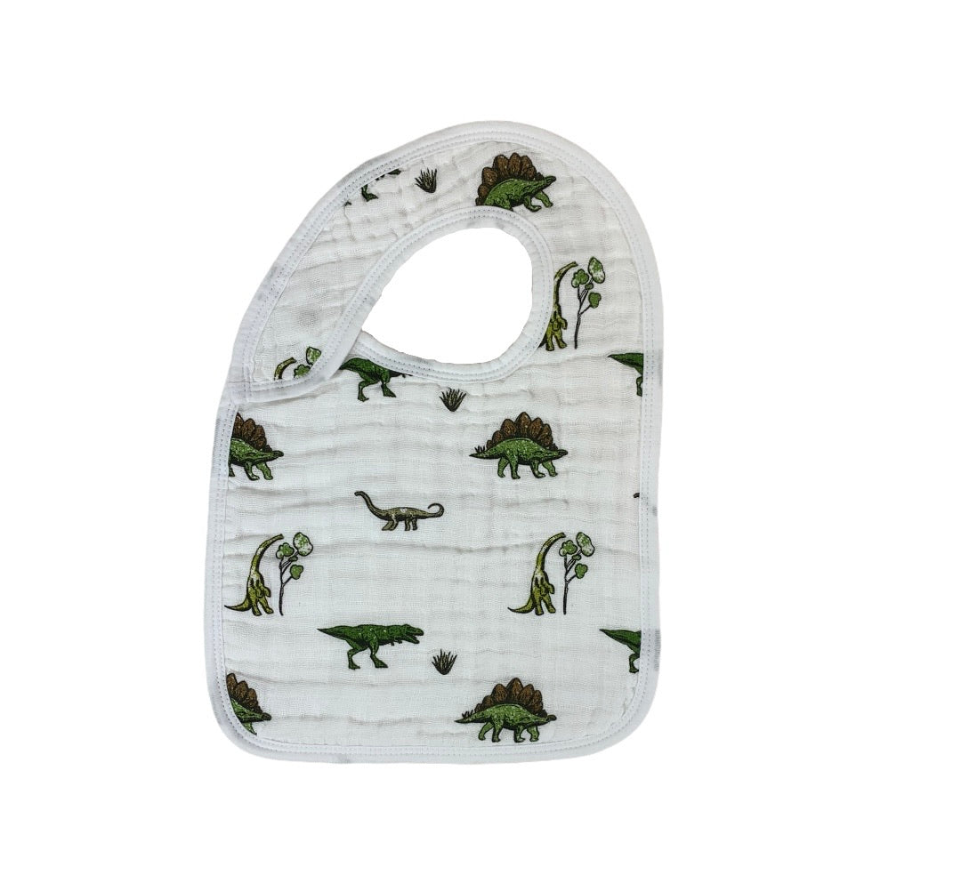 white bib with different types of dinosaurs all over