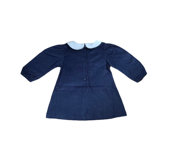 Navy Corduroy Snowman Dress