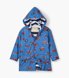 Blue Vintage Tractors Raincoat