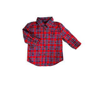 Red Plaid Moose Button Down