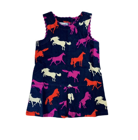 Navy Horse Pinafore Dress