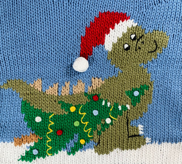 Blue T-Rex Santa Roll Neck Sweater