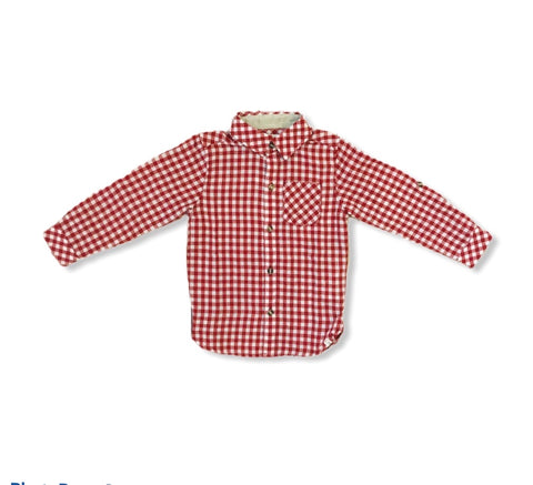 Red and White Plaid Collared Shirt
