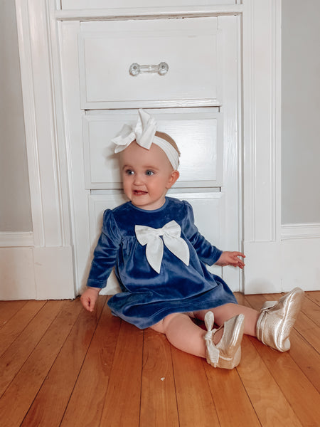 Navy Velour Bow Dress