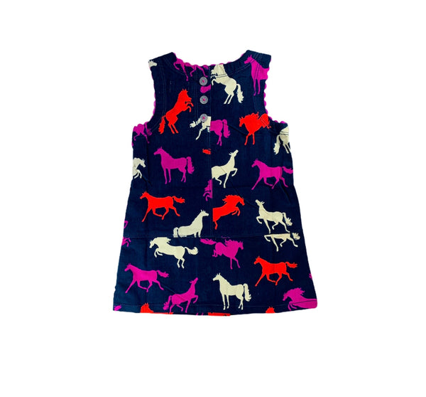 Navy Horse Pinafore Dress back