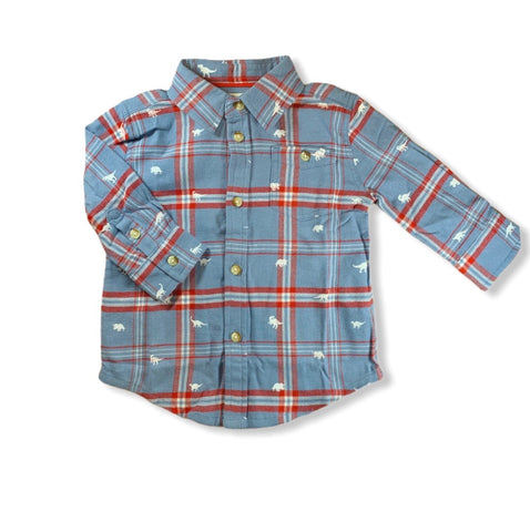 Plaid Dino Button Down