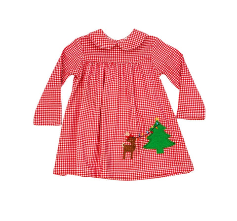 Red Gingham Christmas Lights Dress