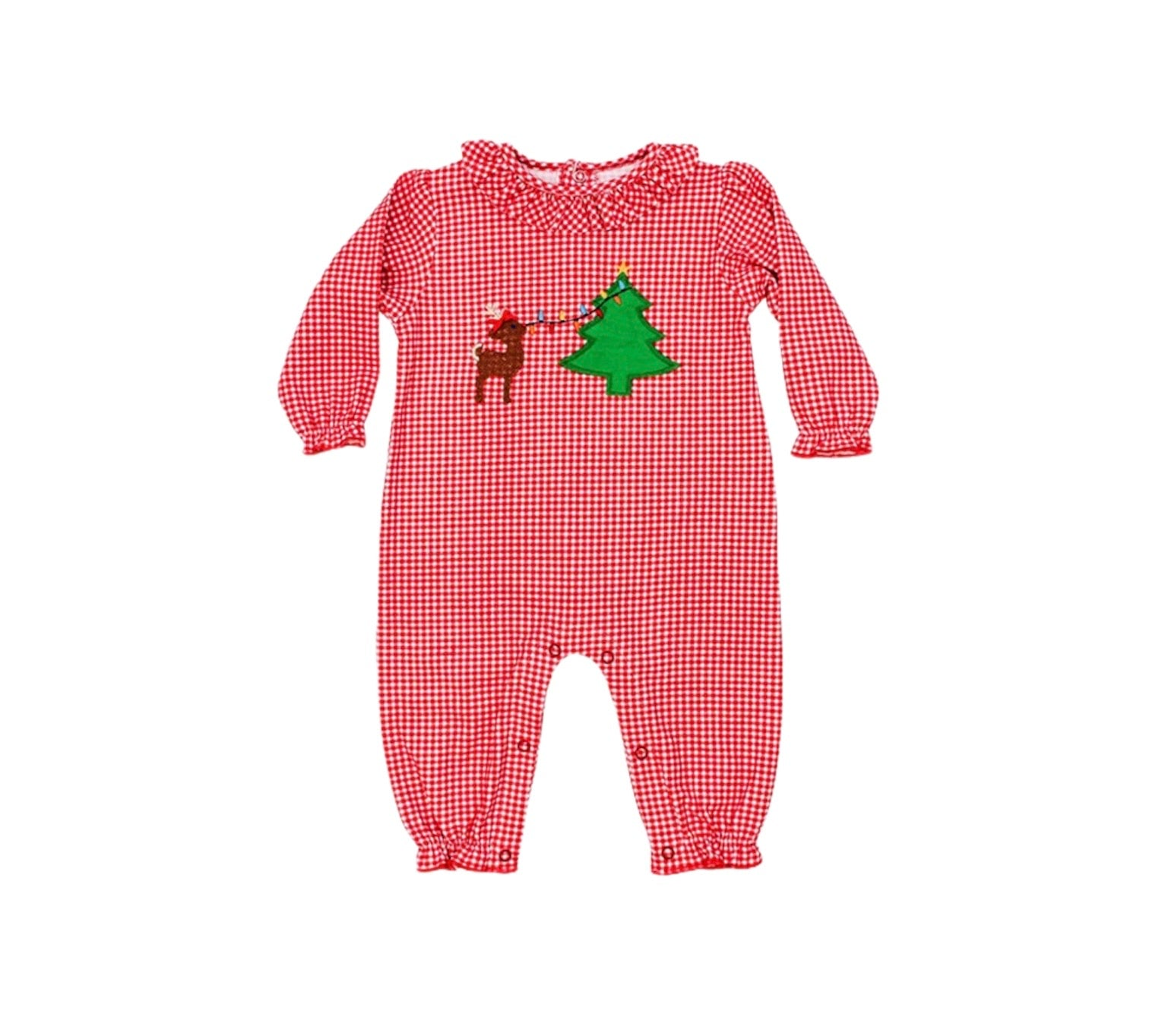 Red Gingham Christmas Lights Romper