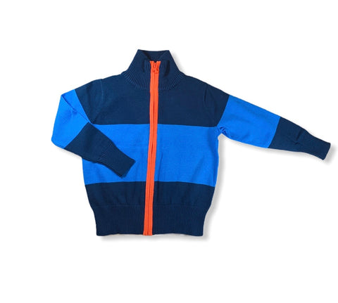 Blue Color Block Zip Up