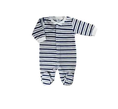 Navy and Grey Stripe Velour Footie