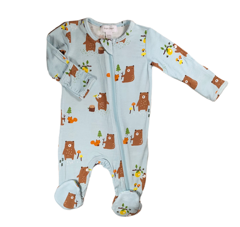 Blue Bear Print Footie