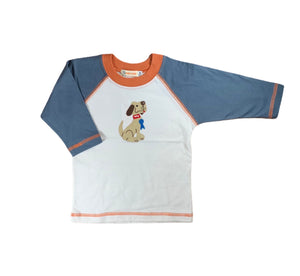 Dog Applique baseball Tee