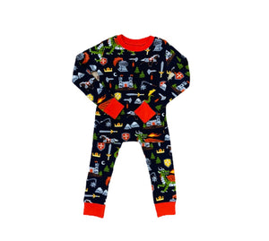 Navy Blue Knights and Dragons Pajama Set