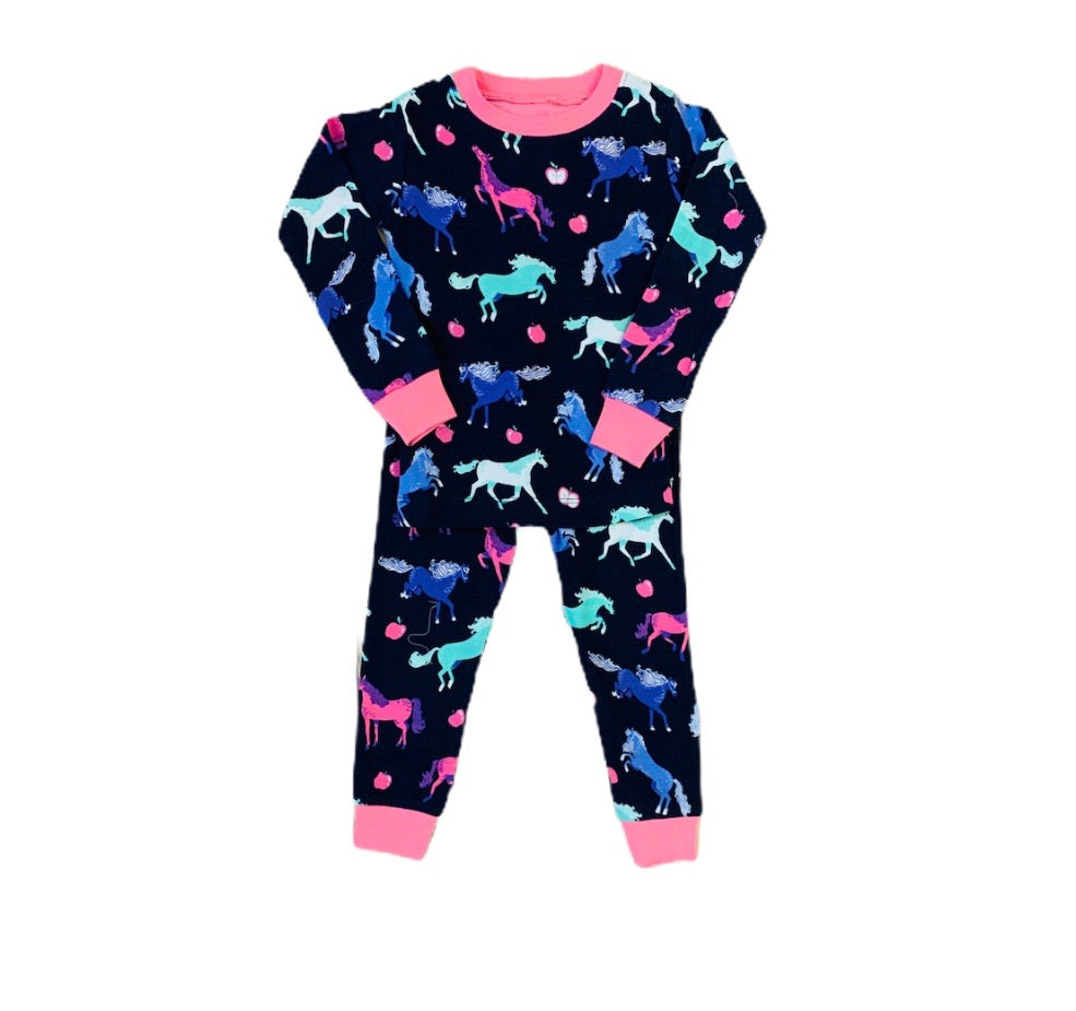Navy Blue Horses Pajama Set