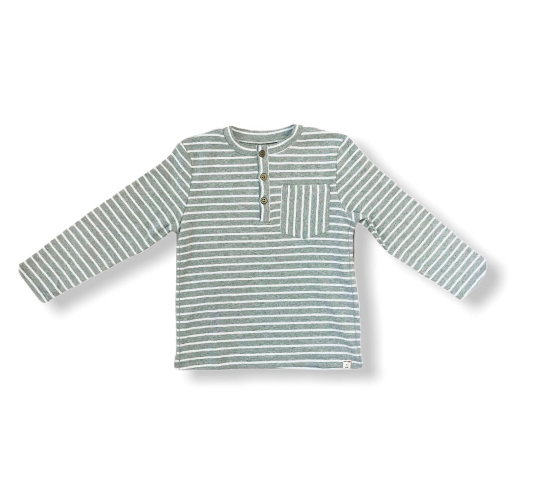 Gray Striped Henley Tee