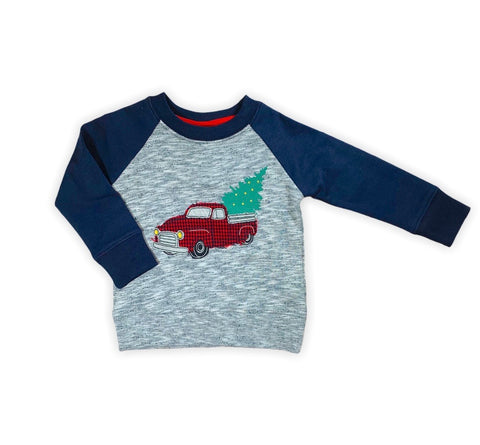Christmas tree baseball sleeve sweater