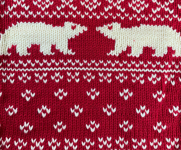 Cranberry Polar Bear Fairisle Roll Neck Sweater