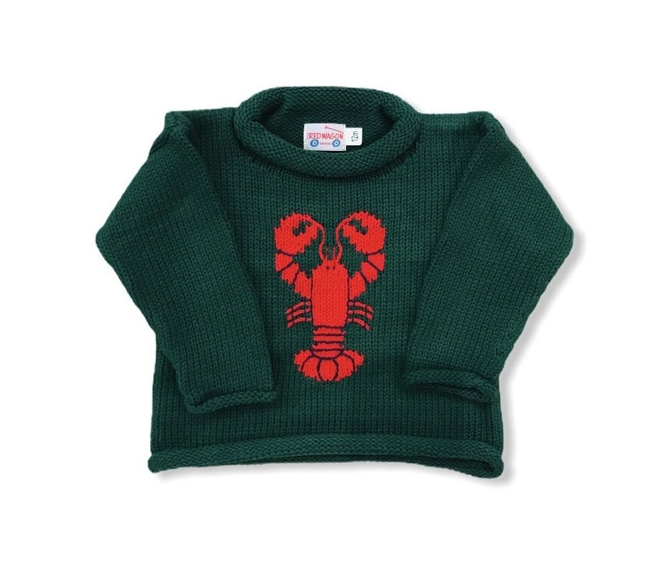 Hunter Green Lobster Roll Neck Sweater
