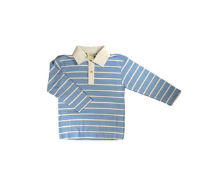 blue and white striped long sleeve shirt with white collar and buttons on front
