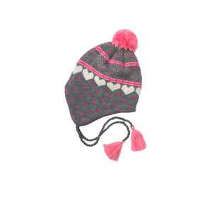 Gray Hearts Trapper Hat